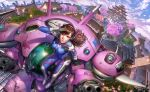 1boy 2016 2girls animal_print architecture arm_cannon artist_name asymmetrical_clothes bangs bastion_(overwatch) blizzard_(company) bodysuit boots bow_(weapon) bracer breasts brown_eyes brown_hair building bunny_print character_name cherry_blossoms closed_mouth clouds cloudy_sky d.va_(overwatch) dated dutch_angle east_asian_architecture emblem eyelashes facepaint facial_mark fisheye from_above full_body gatling_gun genji_(overwatch) gloves gun hair_ribbon hand_up hanzo_(overwatch) headphones highres holding holding_weapon japanese_clothes lips logo long_hair long_sleeves looking_at_viewer mccree_(overwatch) mecha medium_breasts meka_(overwatch) mercy_(overwatch) midair mountain multiple_girls nutthapon_petchthai outdoors overwatch pauldrons petals pharah_(overwatch) pilot_suit pink_lips ponytail ribbed_bodysuit ribbon roadhog_(overwatch) rooftop salute sash scenery shoulder_pads signature skin_tight sky smile soldier:_76_(overwatch) solo_focus thigh-highs thigh_boots thigh_strap tracer_(overwatch) tree turtleneck weapon whisker_markings white_boots white_gloves widowmaker_(overwatch) yellow_ribbon zenyatta_(overwatch)