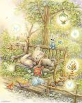bench bird book brown_shoes butterfly cape cat ciro_ukai crown danian duck frog highres lamp lantern leaf mouse mushroom open_book original outdoors pillow plant shoes shoes_removed signature sleeping traditional_media tree watercolor_(medium)