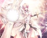 1girl akina_t alternate_hair_color armor armored_boots armored_dress bare_shoulders black_gloves boots bright_background commentary_request fate/grand_order fate_(series) gauntlets glasses gloves hair_over_one_eye highres holding holding_sword holding_weapon long_hair looking_at_viewer pink_hair shield shielder_(fate/grand_order) short_hair smile solo sword thigh-highs thigh_boots weapon