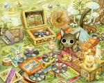 accordion ant bird black_cat book brown_shoes cape cat chick ciro_ukai clover crown cup danian doughnut drink drum drumsticks fish flower food frog harmonica hat horn_(instrument) instrument lantern looking_at_viewer mouse mug mushroom nose_bubble open_book original phonograph plaid_blanket record red_cape red_hat shoes signature sugar tagme tea_kettle teabag traditional_media water watercolor_(medium)