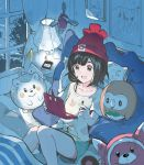 1girl andrian_gilang beanie bed bewear black_eyes black_hair book ditto female_protagonist_(pokemon_sm) green_shorts handheld_game_console hat lamp lillie_(pokemon) night nintendo_3ds open_mouth pillow pokemon pokemon_(creature) pokemon_(game) pokemon_sm porygon-z red_hat rowlet short_hair short_sleeves shorts stufful stylus togedemaru window