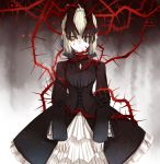 1girl blonde_hair blood blood_on_face corset creepy disembodied_limb expressionless fate/stay_night fate_(series) gothic_lolita hands_on_another's_face highres kakobulb lolita_fashion looking_at_viewer plant saber saber_alter short_hair solo thorns vines yellow_eyes