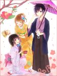 1boy 2girls black_hair brown_eyes brown_hair closed_eyes holding holding_umbrella japanese_clothes kimono kohak_hearts leia_rolando leon_magnus long_hair multiple_girls open_mouth oriental_umbrella ringoro sash short_hair tales_of_(series) tales_of_destiny tales_of_hearts tales_of_xillia umbrella violet_eyes white_legwear yukata