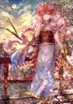 1girl alternate_costume alternate_hairstyle blue_eyes blue_kimono blurry braid bridge clouds depth_of_field feather_boa feather_print feathers full_body full_moon granblue_fantasy grass hair_between_eyes hair_tousle hair_up highres japanese_clothes kimono lecia_(granblue_fantasy) light_smile moon obi orange_hair outdoors petals sash scarf sheath sheathed signo_aaa sky solo standing stone_floor sword tree twin_braids weapon wide_sleeves