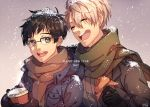 2017 2boys black_hair brown_eyes brown_scarf closed_eyes coffee_cup food glasses gloves green_scarf grey_hair happy_new_year jacket katsuki_yuuri laughing male_focus mittens multiple_boys new_year open_clothes open_jacket open_mouth pan_(pandora_requiem) scarf semi-rimless_glasses smile snow sparkling_eyes viktor_nikiforov yuri!!!_on_ice
