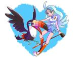 1girl aqua_hair beak bird bird_wings blue_eyes blue_hat blue_skirt bracelet breasts collared_shirt elite_four feathered_wings feathers golf_club hat heart holding holding_golf_club jewelry kahili_(pokemon) kneehighs long_hair medium_breasts megayukina miniskirt mole mole_under_eye open_mouth orange_legwear outline pencil_skirt pin pokemon pokemon_(creature) pokemon_(game) pokemon_sm shirt shoes short_sleeves skirt solo striped striped_shirt teeth tongue toucan toucannon visor_cap white_shoes wings z-ring