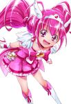1girl :d bike_shorts boots bow choker cure_happy dress earrings eyelashes hair_bow hair_ornament happy highres hoshizora_miyuki jewelry knee_boots kneehighs long_hair looking_at_viewer magical_girl open_mouth pink_dress pink_eyes pink_hair pink_shorts precure ribbon sharumon shorts shorts_under_dress simple_background smile smile_precure! solo standing twintails very_long_hair white_background white_legwear wrist_cuffs