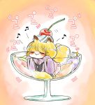 1girl :> animal_ears blonde_hair cherry closed_eyes cushion dress food food_on_head fox_ears fox_tail frilled_dress frills fruit fruit_on_head glass komaku_juushoku multiple_tails object_on_head smile solo tabard tail touhou two_tails whipped_cream white_dress wide_sleeves yakumo_ran younger