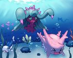 >o< blue_eyes bubble chasing closed_eyes coral coral_reef corsola crying fangs gyarados light_rays luvdisc mareanie no_humans ocean ocean_bottom open_mouth pokemon pokemon_(creature) pokemon_(game) pokemon_sm rock sand seaweed sharp_teeth spikes swimsuit tearing_up tears teeth underwater water wishiwashi yellow_sclera