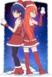 2girls absurdres blue_eyes blue_hair caibao christmas dress flip_flappers hair_ornament hairclip hat highres kokomine_cocona long_hair multiple_girls night night_sky papika_(flip_flappers) red_dress santa_costume santa_hat short_hair skirt sky snow snowing tt-392