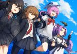 4girls arm_warmers artist_name bangs bare_legs bike_shorts black_hair blue_sky braid brown_eyes brown_hair clouds commentary_request day dress fan gloves hair_between_eyes hair_ribbon hatsuharu_(kantai_collection) hatsushimo_(kantai_collection) headgear holding holding_fan jacket jumping kantai_collection lansane long_hair long_sleeves looking_afar multiple_girls neckerchief nenohi_(kantai_collection) ocean open_clothes open_collar open_jacket open_mouth pantyhose parted_bangs pink_eyes pink_hair pleated_skirt ponytail purple_hair ribbon rigging sailor_dress school_uniform shirt short_hair short_sleeves shorts_under_skirt sidelocks skirt sky smile socks solo_focus violet_eyes wakaba_(kantai_collection) white_dress white_shirt