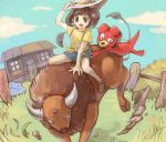 1girl alternate_color bare_arms black_eyes black_hair blue_shorts blue_sky brown_shoes building bull clouds commentary_request day ditto door female_protagonist_(pokemon_sm) fence floral_print gameplay_mechanics grass hand_on_headwear hat hay haystack hooves horns looking_down magby multiple_tails open_mouth outdoors pokemon pokemon_(creature) pokemon_(game) pokemon_sm polyacryla ranch riding rock shiny_pokemon shirt shoes short_hair short_sleeves shorts sky socks tail tauros tongue white_hat window wooden_door wooden_fence yellow_shirt