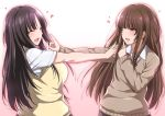 2girls :d ^_^ ^o^ amagami black_hair blush breasts brown_hair closed_eyes gradient gradient_background heart highres kamizaki_makoto kamizaki_risa koi_dance long_hair multiple_girls open_mouth seiren shouji_nigou siblings sisters smile sweater_vest yellow_eyes