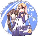 2girls adidas bag black_hair blush commentary commentary_request dated hair_ribbon hand_in_pocket hikawa_shou idolmaster idolmaster_cinderella_girls jacket kotoyoro looking_at_viewer matoba_risa multiple_girls nengajou new_year open_mouth orange_hair ribbon scarf shoulder_bag signature track_jacket twintails violet_eyes yellow_eyes yuuki_haru