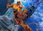 blue_sky bt0509 cityscape clouds dragon dutch_angle gun highres mecha no_humans open_mouth original rappelling reflection robot rope sky weapon