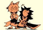2girls geta imaizumi_kagerou inubashiri_momiji multiple_girls pulling setz sweatdrop sword touhou weapon