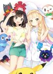 2girls bangs beanie black_hair blonde_hair blue_eyes blunt_bangs blush braid collared_dress cosmog dress eyebrows_visible_through_hair female_protagonist_(pokemon_sm) floral_print green_eyes green_shorts hand_holding hat heart holding holding_poke_ball kikistark kneehighs lillie_(pokemon) litten long_hair looking_at_viewer multiple_girls poke_ball pokemon pokemon_(creature) pokemon_(game) pokemon_sm popplio red_hat rowlet shirt shoes short_hair short_shorts short_sleeves shorts sleeveless sleeveless_dress sneakers sun_hat sundress swept_bangs t-shirt tied_shirt twin_braids white_dress white_hat white_legwear