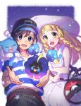 0wsaa0 1boy 1girl bag baseball_cap black_hair blonde_hair braid brionne cosmog dress duffel_bag green_eyes hat lillie_(pokemon) long_hair male_protagonist_(pokemon_sm) open_mouth pokemon pokemon_(creature) pokemon_(game) pokemon_sm shirt short_hair sleeveless sleeveless_dress star striped striped_shirt sun_hat twin_braids white_dress white_hat