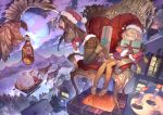 1boy 2girls bird black_legwear blonde_hair bottle box brown_hair candle chair chimney christmas clouds drink flying gift gift_bag gift_box hat highres house icicle katahira_(hiyama) legwear_under_shorts long_hair looking_at_another multiple_girls night open_mouth original reindeer santa_claus santa_hat short_hair shorts sleeping snow town waving