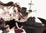 2girls ahoge bare_shoulders black_hair boots brown_hair camel000 detached_sleeves double_bun hair_ornament hairband haruna_(kantai_collection) headgear japanese_clothes kantai_collection kongou_(kantai_collection) long_hair looking_at_another machinery multiple_girls nontraditional_miko remodel_(kantai_collection) ribbon-trimmed_sleeves ribbon_trim rigging simple_background skirt smile smokestack straight_hair thigh-highs thigh_boots turret weapon white_background wide_sleeves