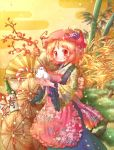 1girl aki_minoriko apron arinu bamboo bell bird black_skirt blonde_hair blush bottle chicken floral_print food fruit grapes hair_ornament hat highres japanese_clothes kimono masu new_year red_eyes rooster short_hair skirt smile solo touhou tree year_of_the_rooster