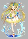 1girl dress flower frilled_dress frills full_body grey_background hair_flower hair_ornament hair_ribbon horns konataeru looking_at_viewer open_mouth original personification ribbon sandals seashell shell standing standing_on_one_leg summer water yellow_eyes yellow_flower
