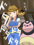 1girl :3 belt blonde_hair blue_eyes breast_hold breasts brown_eyes brown_hat building buttons closed_mouth commentary_request cow cowboy_hat denim door doorknob gameplay_mechanics hand_to_own_mouth hat horns jitome large_breasts long_hair looking_up miltank npc npc_trainer open_mouth overalls pokemon pokemon_(creature) pokemon_(game) pokemon_breeder_(pokemon) pokemon_sm refuto shirt short_sleeves sidelocks standing suspenders sweatdrop text triangle_mouth twintails udder white_shirt wooden_door