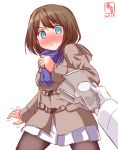1boy 1girl 2017 admiral_(kantai_collection) alternate_costume black_legwear blue_eyes blush brown_hair casual coat commentary_request dated full-face_blush gloves hair_ornament highres holding kanon_(kurogane_knights) kantai_collection long_sleeves maya_(kantai_collection) money pantyhose pleated_skirt pov pov_hands scarf short_hair simple_background sketch skirt surprised sweat trembling white_background white_gloves white_skirt winter_clothes winter_coat x_hair_ornament