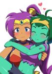2girls ^_^ bare_arms bare_shoulders blue_eyes blush breasts carrying closed_eyes dark_skin earrings embarrassed forehead_jewel gem green_hair green_skin happy headband heart hoop_earrings jewelry johnny_(seek_as_1990sp) lifting lifting_person midriff multiple_girls navel ponytail purple_hair rottytops shantae shantae_(character) shantae_(series) shantae_and_the_pirate's_curse short_hair sideboob simple_background skull skull_earrings smile stitches stomach torn_clothes upper_body vest white_background yuri zombie