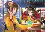 2girls artist_name bangs blurry blurry_background blush breasts brown_eyes brown_hair chair commentary cup depth_of_field drawing eyebrows_visible_through_hair floating_hair floral_print flower hair_ornament half-closed_eyes hanekoto holding_brush indoors japanese_clothes kanzashi kimono light_smile long_hair looking_at_another looking_down medium_breasts multiple_girls open_mouth original ponytail red_flower short_hair_with_long_locks shrine signature sitting smile sparkle steam table torii two_side_up vase white_flower year_of_the_rooster yellow_kimono