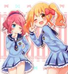 2girls ;) ;d aikatsu! aikatsu_stars! bangs blush bow breasts copyright_name cowboy_shot dress eyebrows_visible_through_hair hair_bow hair_ornament hair_scrunchie hand_on_hip hand_on_own_chin looking_at_another looking_at_viewer medium_breasts multiple_girls nijino_yume one_eye_closed open_mouth pink_bow pink_hair ponytail sailor_collar sailor_dress sakuraba_rola scrunchie smile striped teeth thighs twintails umino_(umino00) v vertical-striped_background vertical_stripes wavy_hair