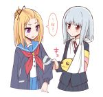 2girls arm_sling bangs_pinned_back black_ribbon black_skirt blonde_hair blue_skirt blush_stickers cardigan cropped_legs eye_contact flip_flappers grey_hair long_sleeves looking_at_another multicolored_hair multiple_girls neck_ribbon neckerchief pleated_skirt red_eyes red_neckerchief red_ribbon ribbon school_uniform serafuku simple_background skirt sleeve_tug sou_(mgn) streaked_hair translated violet_eyes white_background yayaka yuyu_(flip_flappers)