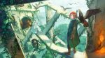 1boy 1girl ahoge angry barefoot bird bird_on_arm blonde_hair blue_eyes bridal_veil brown_hair clouds dress elbow_gloves fantasy fire from_above gloves green_eyes gun hawk head_wreath highres horizon looking_at_viewer looking_back mocco ocean original overgrown plant reaching_out rifle ruins scenery shadow short_hair skirt_hold sling smile sunlight torch tower tree trench_coat veil vines walking water weapon wedding_dress white_gloves