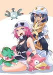2girls aether_foundation_employee bandana_over_mouth black_hair cabbie_hat dark_skin fomantis gloves hat herdier jewelry lillipup long_hair magnemite multiple_girls necklace npc_trainer open_mouth pink_hair pokemon pokemon_(creature) pokemon_(game) pokemon_sm short_hair short_sleeves slowpoke tank_top team_skull team_skull_grunt two-tone_background unya white_gloves white_hat