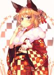 1girl animal_ears bangs bird blonde_hair chicken closed_mouth cowboy_shot floral_print flower folded_ponytail fox_ears fur hair_flower hair_ornament highres japanese_clothes kimono long_sleeves mizuyoukan_(mikususannda) obi original rooster sash sidelocks smile solo violet_eyes wide_sleeves