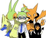 1boy alakazam blue_eyes domino_mask flygon glasses green_hair houndoom inkling manectric mask nana_(raiupika) nintendo pokemon pokemon_(creature) ponytail splatoon tentacle_hair