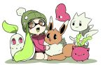 1girl :3 beanie brown_eyes chikorita domino_mask eevee green_hair hat hoppip inkling luvdisc mask nana_(raiupika) nintendo pokemon pokemon_(creature) splatoon tentacle_hair togetic