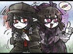 +++ 2girls :d annoyed black_hair black_hat black_jacket black_necktie black_pants blazer checkered checkered_scarf checkered_skirt cowboy_shot dango flat_cap flying_sweatdrops food frilled_shirt_collar frills frown hair_between_eyes hat himekaidou_hatate index_finger_raised jacket letterboxed long_sleeves multiple_girls necktie open_mouth pants pink_eyes pink_shirt pointing pointy_ears purple_hat purple_scarf purple_skirt red_eyes red_necktie scarf shameimaru_aya shirt skirt smile spoken_food squiggle suenari_(peace) tokin_hat touhou wagashi white_skin