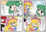 3girls 4koma american_flag blonde_hair blush blush_stickers choker closed_eyes clownpiece comic frog_hair_ornament green_hair hair_ornament hair_tubes hat hecatia_lapislazuli jester_cap kajiya_no_masa kochiya_sanae long_hair multiple_girls off-shoulder_shirt one_eye_closed plaid plaid_skirt redhead shaded_face shirt skirt smile t-shirt touhou