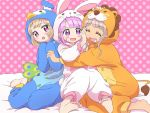 3girls animal_costume barefoot blush_stickers bunny_costume closed_eyes girl_sandwich hug ikzw lion_costume manaka_non multiple_girls open_mouth penguin_costume polka_dot polka_dot_background pripara purple_hair sandwiched sitting smile taiyou_pepper tsukikawa_chiri violet_eyes
