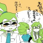 2boys 2girls arguing beanie blush commentary_request domino_mask glasses green_eyes green_hair hair_ornament hairclip hat inkling lowres mask multiple_boys multiple_girls nana_(raiupika) splatoon tentacle_hair translation_request