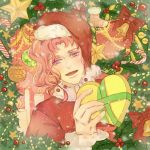 1boy absurdres bell candle christmas_ornaments christmas_tree gift hat heart highres jojo_no_kimyou_na_bouken kakyouin_noriaki male_focus mio_rin open_mouth pink_hair red_ribbon ribbon santa_costume santa_hat smile solo star upper_body violet_eyes