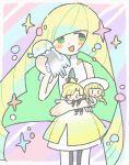 1girl blonde_hair doll_hug dress gladio_(pokemon) green_eyes highres hug lillie_(pokemon) long_hair nihilego open_mouth pokemon pokemon_(game) pokemon_sm remoooon simple_background smile solo stuffed_toy very_long_hair