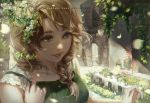 1girl arch bangs blonde_hair blue_eyes braid breasts building commentary day deviantart_username eyelashes flower green_shirt leaf lips looking_away medium_breasts nose original parted_lips petals phong_anh shirt sleeveless sleeveless_shirt solo swept_bangs upper_body watermark web_address white_flower window