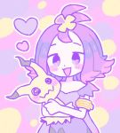 1girl acerola_(pokemon) bangs_pinned_back dress hair_ornament heart hug mimikyu open_mouth pokemon pokemon_(game) pokemon_sm purple_dress purple_hair remoooon short_hair simple_background smile solo violet_eyes