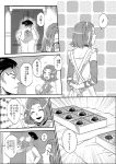 1boy 1girl apron arm_warmers box chocolate choker comic covering_ears dress drinking earrings hairband hand_on_hip headband index_finger_raised jewelry jojo_no_kimyou_na_bouken kishibe_rohan monochrome musical_note open_mouth rin2010 smile spoken_musical_note sugimoto_reimi translation_request untying