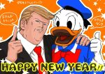 2017 animal bird character_name disney donald_duck donald_trump duck formal hand_on_another's_shoulder hat kamado_(artist) namesake new_year politician real_life sailor_hat star thumbs_up translated