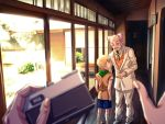 2boys bald blonde_hair blurry c-7_(assate) camera child depth_of_field door facial_hair father_and_son formal goatee grey_hair jojo_no_kimyou_na_bouken kira_yoshihiro kira_yoshikage light male_focus multiple_boys mustache necktie photo_background pov shorts smile socks suit window younger