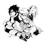1girl 2boys annoyed dirty forehead_protector greyscale haruno_sakura koshi_anko monochrome multiple_boys naruto sitting spiky_hair uchiha_sasuke uzumaki_naruto whisker_markings whiskers
