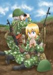 ak-47 assault_rifle binoculars blonde_hair blue_eyes boots camouflage canteen dragunov_svd dutchko eating gloves gun helmet load_bearing_vest military military_uniform multiple_girls original rifle short_hair sniper_rifle soldier uniform weapon